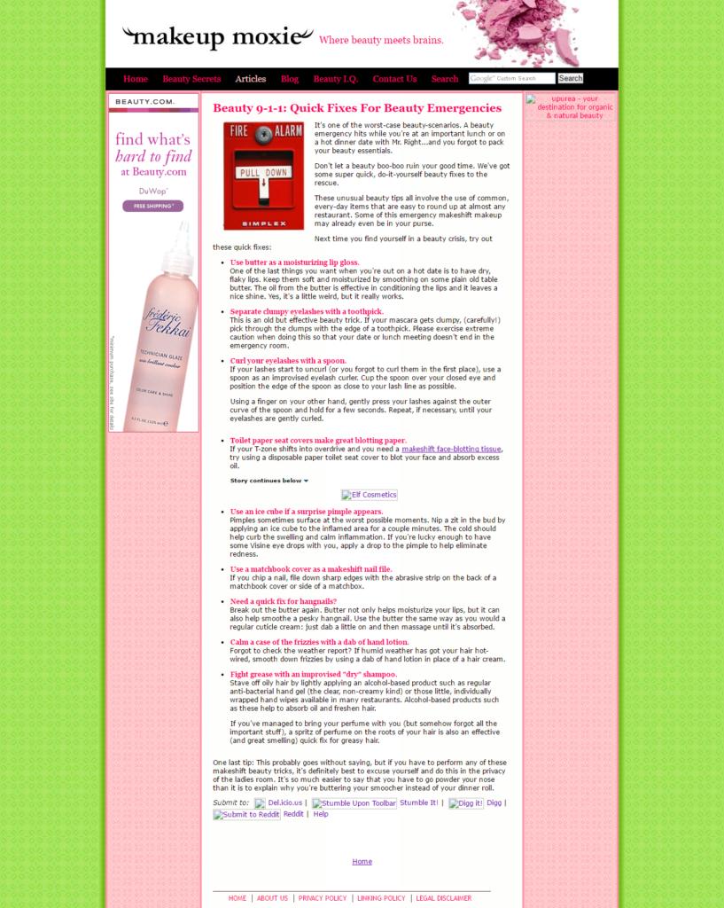 Beauty Writing Sample